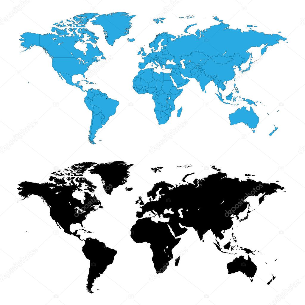 Two detailed world maps, one map with country borders, vector illustration — Stock Vector #1983207