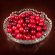 Red cranberry in crystal plate — Stock Photo