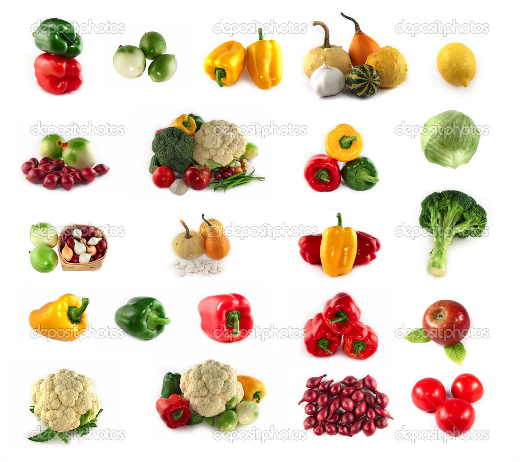 A lot of vegetables and fruits isolated on white background — Stock Photo #2009069
