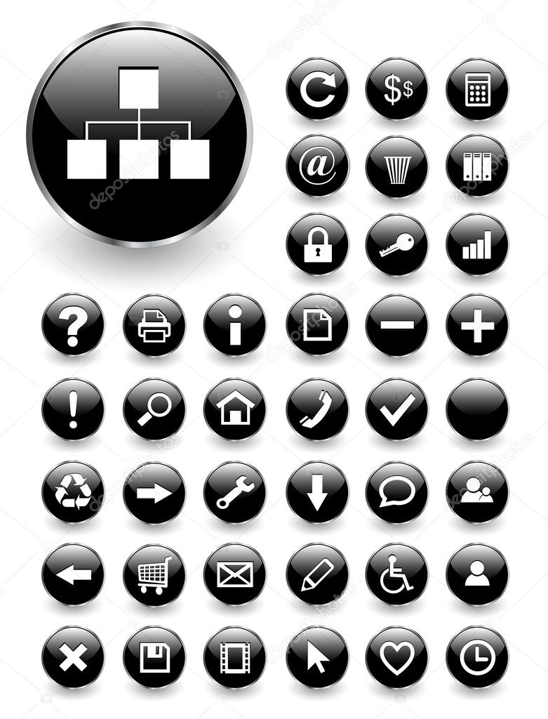 Web icons for business and office  black glass, vector — Stok Vektör #2009698