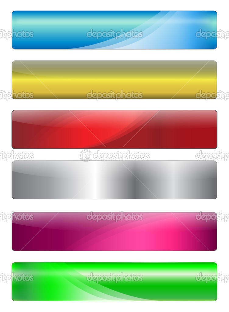 Six, metallic, gel and shiny banners with warm colours for your website, vector. — Stock Vector #2009703