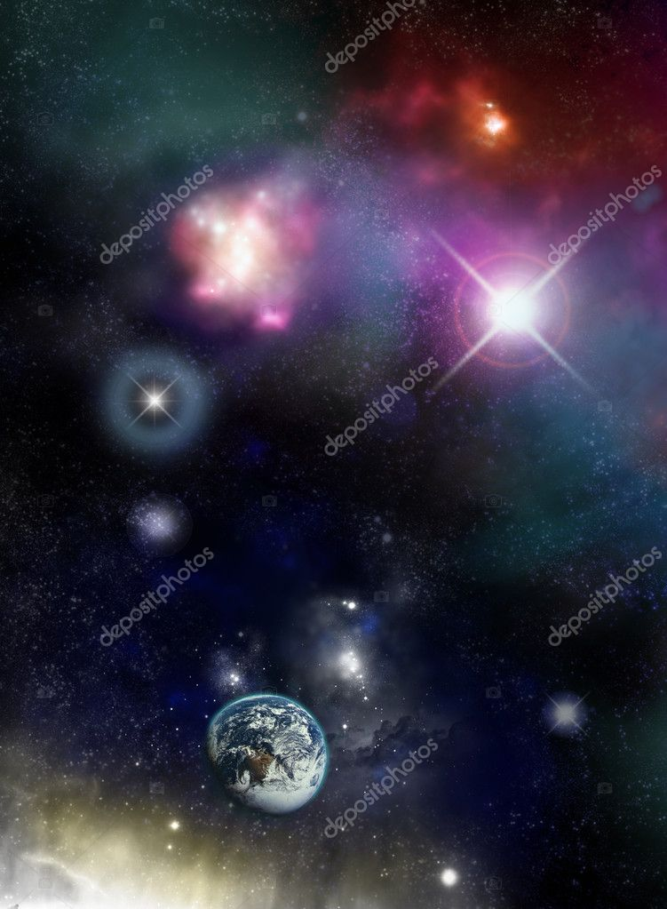 Beautiful starfield and nebulas with glowing stars and an Earth planet - fictional space/scifi scene. — Stock Photo #2018342