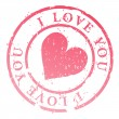 I love you stamp illustration - Stock Vector