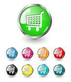 Shopping cart icon vector set — Stock Vector