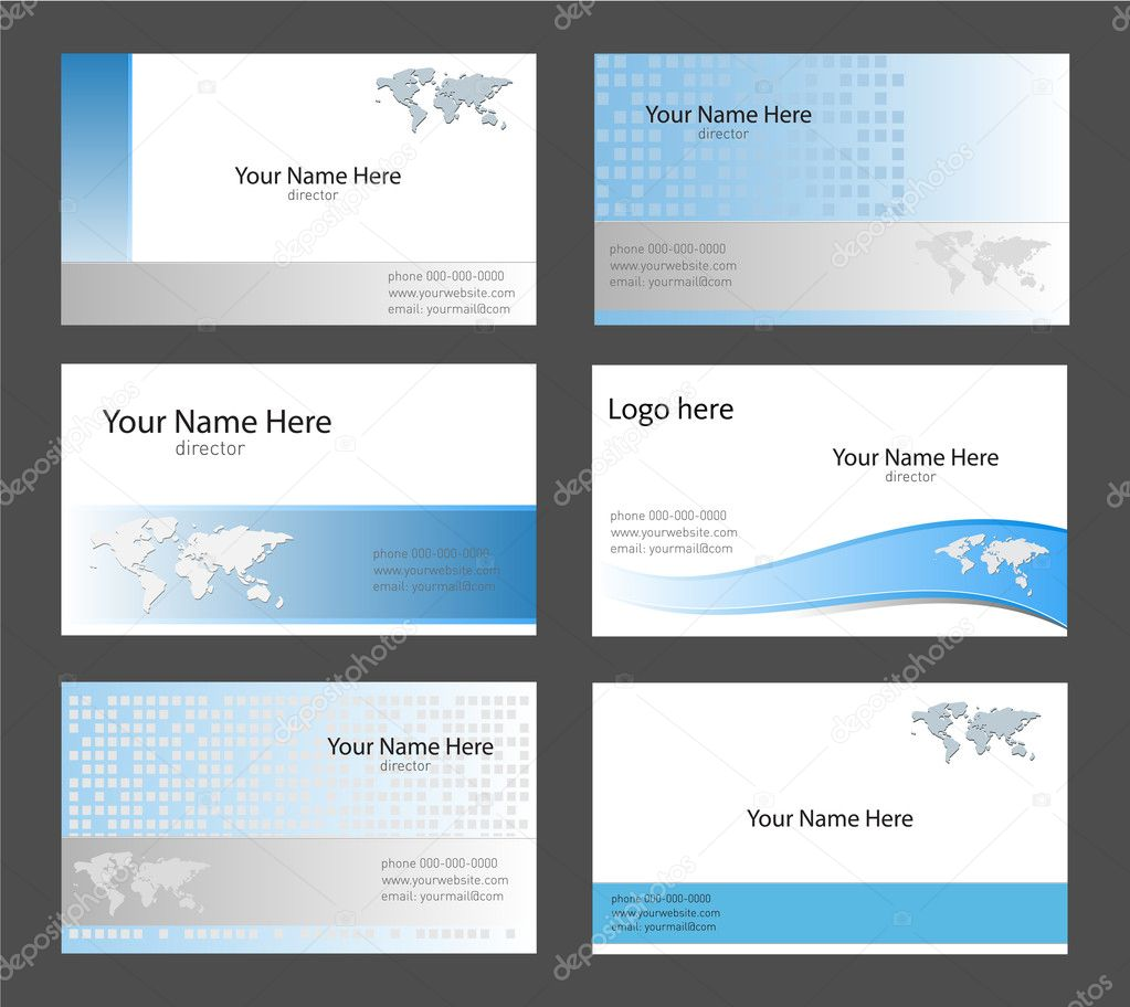Six corporate business card templates white, blue and grey with world map theme — Stock Vector #2010019