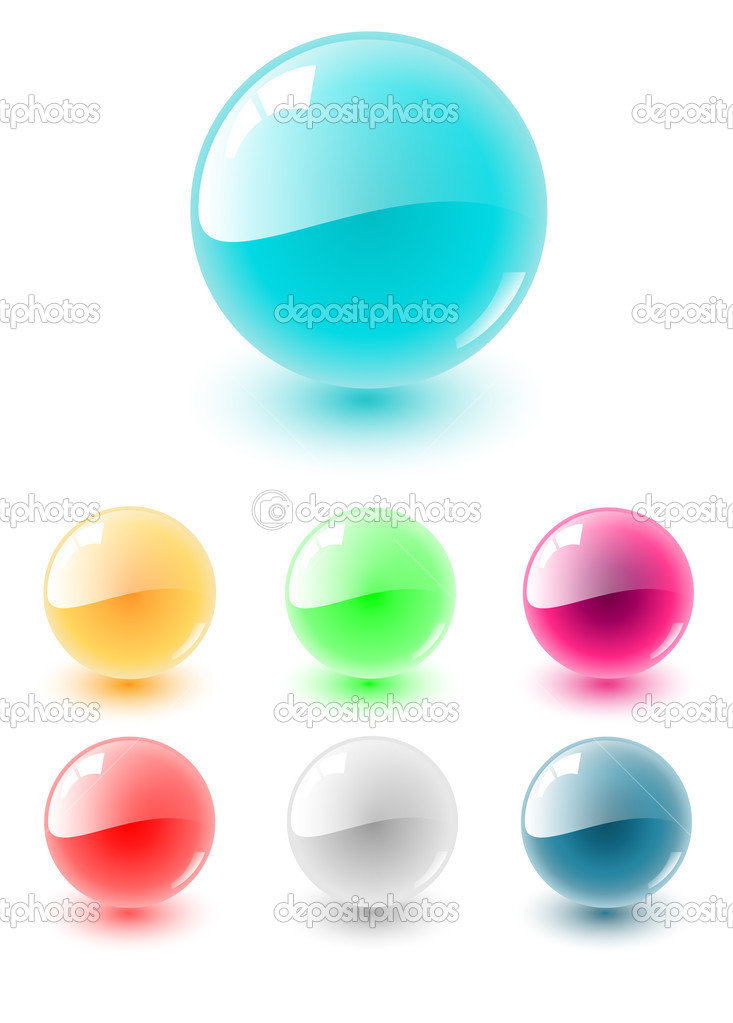 Vector sphere multicolored set, very shiny and glossy  — Stock Vector #2026841