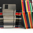 Floppy discs in stacks — Stock Photo