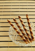 Striped wafer rolls — Stok fotoğraf