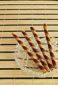 Striped wafer rolls — Stock Photo