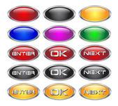 Set of glass metallic blank web buttons — Stock Vector