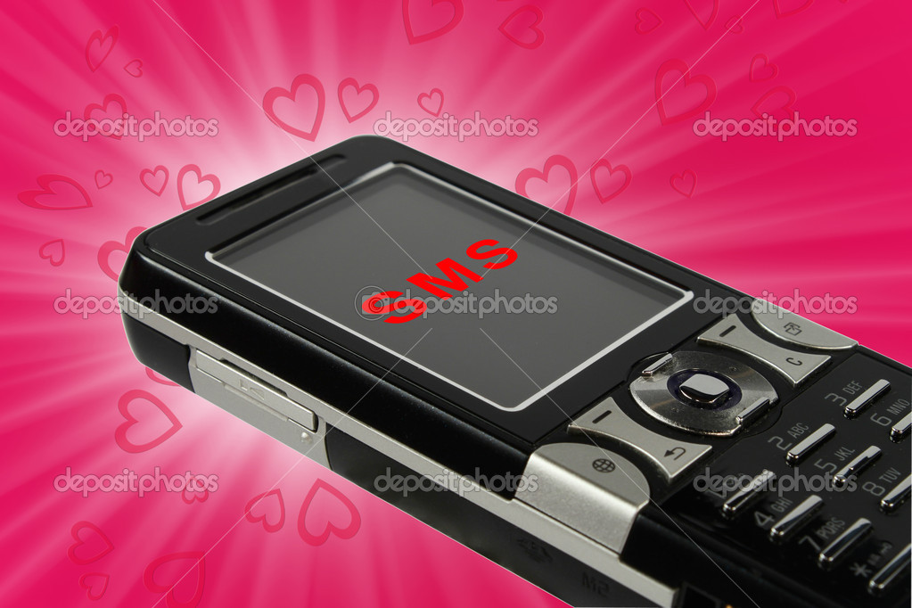 Cell phone with incoming love sms on pink background  Stock Photo #2047356
