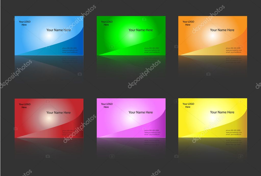 Business card templates six colour variants - editable vector  Stock Vector #2049823