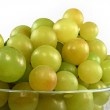 Green grapes in glass bowl isolated — Stock Photo #2058581