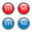 Yes, no icons, buttons — Stock Vector