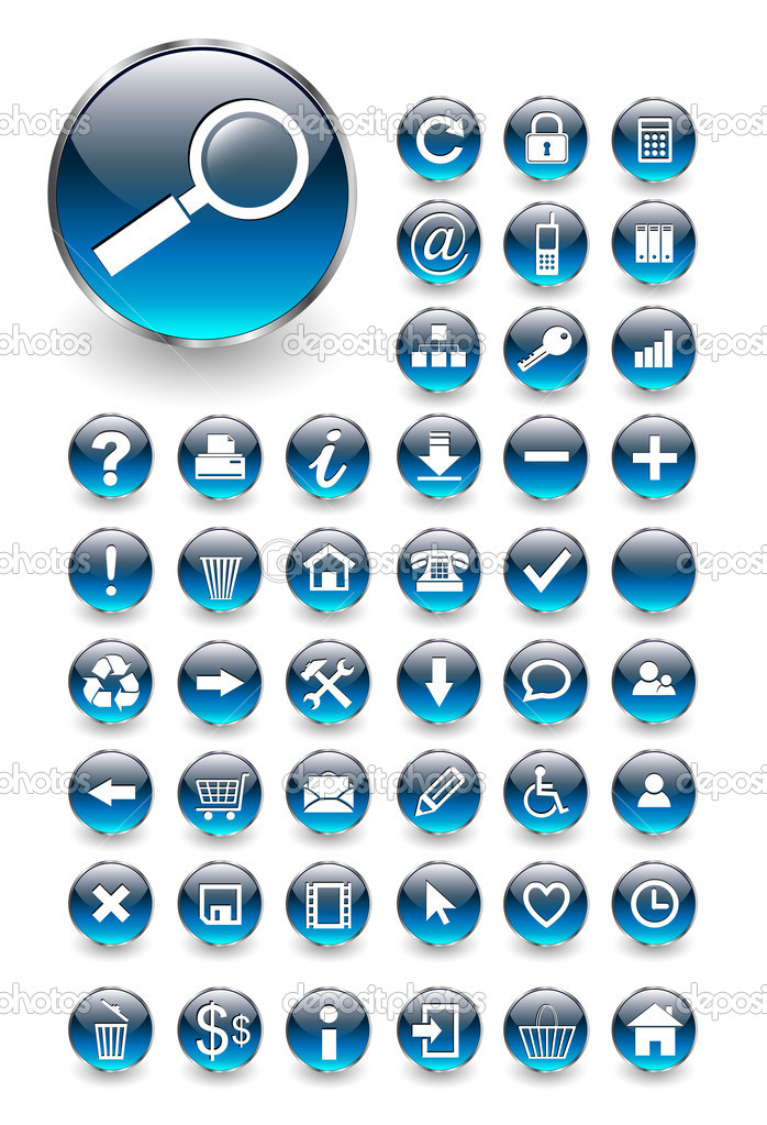 Web icons for business and office blue aqua, vector — Imagen vectorial #2056072