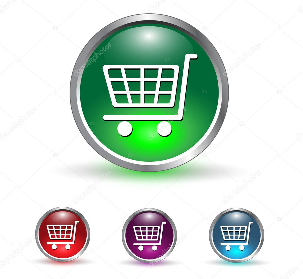 Shopping cart, buy icon button, multicolored set.  Grafika wektorowa #2156892