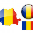 Romania flag, map and glossy button. — Stock Vector #2490930