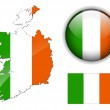 Ireland flag, map and glossy button. — Stock Vector