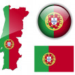 Portugal flag, map and glossy button. — Stock Vector