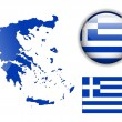 Greece flag, map and glossy button. — Stock Vector