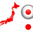 Japan flag, map and glossy button. — Stock Vector