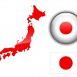 Japan flag, map and glossy button. — Stock Vector #2491625