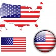 North American USA flag map and button — Stock vektor