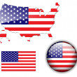North American USA flag map and button - Stock Vector