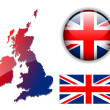 England UK flag, map, button vector set - Stock Vector