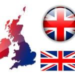England UK flag, map, button vector set — Stock Vector