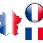 France flag, map, button vector set — Stock Vector