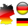 German, Germany flag, map and button. — Stock Vector #2491711
