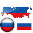 Russia flag, map and button — Stock Vector