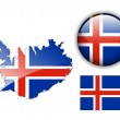 Iceland flag, map and glossy button. — Stock Vector