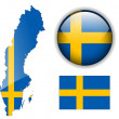 Sweden flag, map and glossy button. — Stock Vector