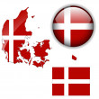 Denmark flag, map and glossy button. — Stock Vector