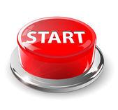 Start button, 3d red vector. — Stock Vector