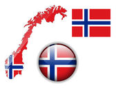 Norway flag, map and glossy button. — Stock Vector