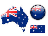Australia flag, map and glossy button. — Stock Vector