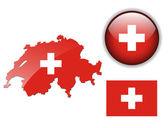 Botão de bandeira, mapa e lustroso de suíça. — Vetorial Stock