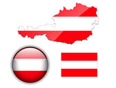 Austria flag, map and glossy button. — Stock Vector