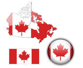 Canada flag map and button — Stock Vector