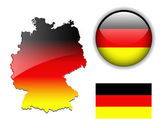 German, Germany flag, map and button. — Stock Vector
