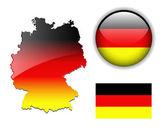 Немецкий, флаг Германии, карта и кнопка. — Cтоковый вектор