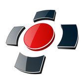 Logo, 3d glossy cross. — Stock Vector