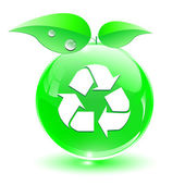 Recycle, green icon — Stock Vector