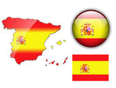 Spain flag, map and glossy button. — Stock Vector
