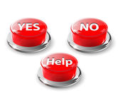 Yes, no, help web buttons, vector. — Stock Vector