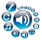 Musik ikoner set, blå vektor. — Stockvektor