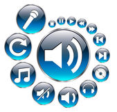 Set de íconos de la música, vector azul. — Vector de stock